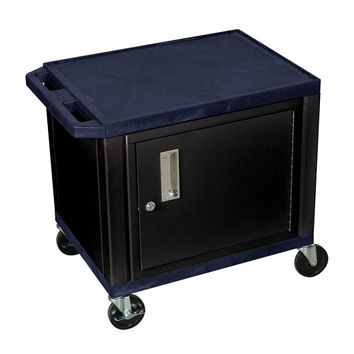 H. Wilson 2Shelf Multipurpose Commercial Utility Cart Lockable Storage Cabinet Push Handle Topaz Black