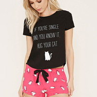 Cat Graphic PJ Set