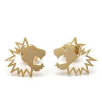 lion earrings, lion studs, tiny earrings, animal earrings, animal studs, cute earrings, man studs, unique studs, lion, animal