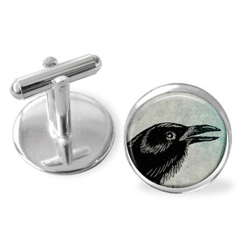 Crow Cufflinks - Bird jewelry - Animal gift - gifts for men - cuff links accessories - christmas gifts for dad - gift for him