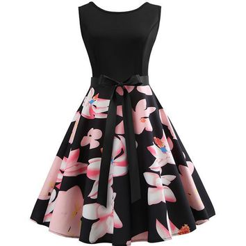 Peach Flowers Black Dress
