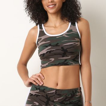 Camouflage Sporty Crop Top with Shorts Set