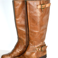 Enzo Angiolini Visco Brown Leather Riding Boots size 8 M