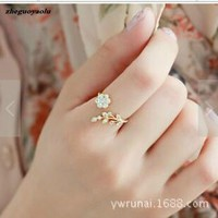 Korean Fashion Temperament Rhinestones Twisted Leaves Wishful Flowers Open Ring Index Finger Ring Female Rings For Women Anel