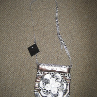 Cross Body Gold/Silver/Cheetah Purse with White Flower on the Front