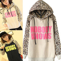 Korean style Women Casual Leopard design Print soft sweatshirt Long sleeve Pullovers hoodies = 1931833988