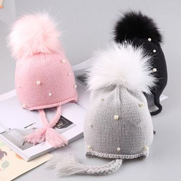 arrival cute kid babies Beanies caps Child Crochet Winter Warm Knit Hats Cap Baby Boy Girls beading Hair Ball Earbud Hat
