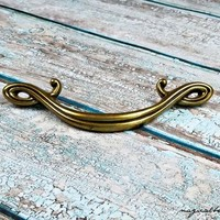 Antiqued Brass Drawer Pull Curly Que Drawer Pull Decorative Drawer Pull Vintage Brass Drawer Pull Handles Antiqued Gold Dresser Hardware