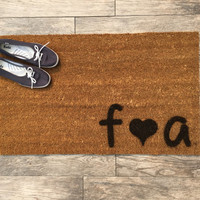"Welcome Mat Personalized with Initials and Heart - Doormat - 18x30"" made from natural coir"