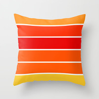 Red Orange Yellow Sunset Stripes Throw Pillow by 2sweet4words Designs | Society6
