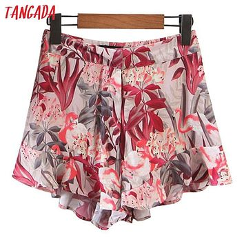 Tangada Fashion 2017 Summer Women Floral Printed Shorts Elegant Beach Zippers Ruffle Shorts Casual Brand Shorts Female 5L2