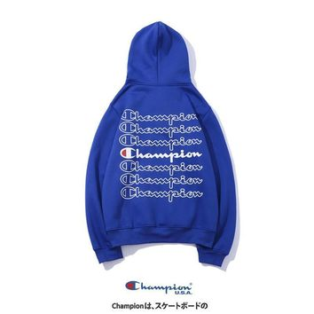 Champion Tide brand autumn and winter couple models sports back print hooded pullover sweater Blue