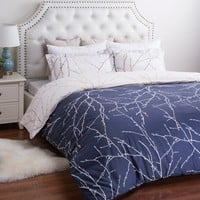 Navy Blue Plum Tree 3PC Duvet Bedding SET
