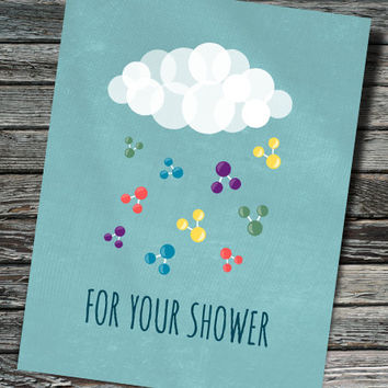 H2O Molecule Baby or Wedding Shower Card | Chemistry, Biology, Physics, Molecules | Teacher, Student, Professor, Scientist, Chemist, Nerdy