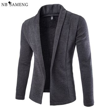 2017 British Style Knitted Sweater Men Fashion Solid Cardigan Sweaters Without Button Mens Blazer Jacket Jumpers Cardigans