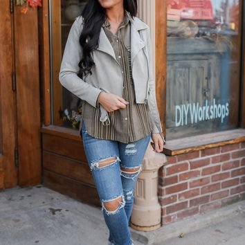 Play It Cool Suede Moto Jacket