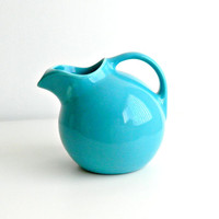 Vintage Homer Laughlin Harlequin Water Pitcher Ball Jug in Original Turquoise 1930s - 1950s