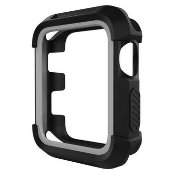 Umtele Rugged Apple Watch Case 38mm Shock Proof Bumper Cover Scratch Resistant Protective Case For Apple Series 3 Series 2 Series 1 Black/grey