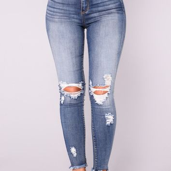 Smiley High Rise Distress Jeans - Medium Wash