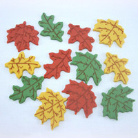 42 Fall Leaves Fondant Cupcake Toppers, Autumn Cake Fondant Toppers, Thanksgiving Toppers, Fall Wedding Topper, Maple Oak Leaf Fondant