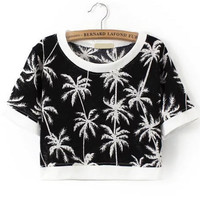 Black and White Tropical Print Crop - Navy White