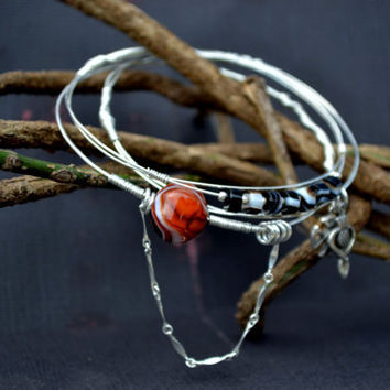 Sterling Silver Bangles with Wire Wrapping, Sterling Silver Charms, and Semi Precious Banded Agate Stones