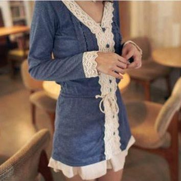 V-Neck Lace Embellished Cardigan Navy Blue