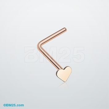 Rose Gold Heart L-Shaped Nose Ring