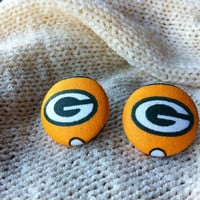 Wisconsin Football Fan Earrings, Fabric Button Earrings Handcrafted with Green Bay Packers Fabric, Stud Earrings, Surgical Steel Post