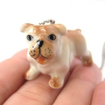 Bulldog Baby Puppy Dog Porcelain Ceramic Animal Pendant Necklace | Handmade