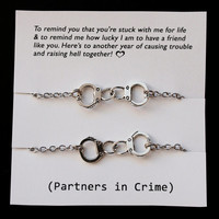 Set of 2 Partners in crime Best Friends Bracelets - Silver Handcuffs Bracelet handcuff bracelet handchain BFF jewelry Live Love Leaf designs