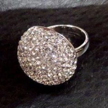 Crystal Mushroom Pavé CZ Oversize Dome Cocktail Ring