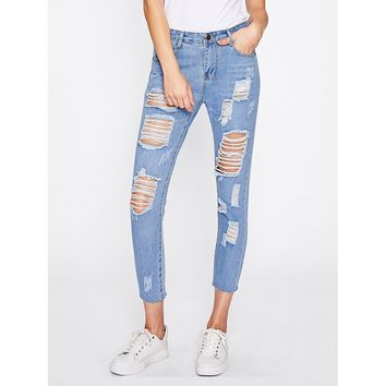 Why Are You Stressed Extreme Distressing Jeans - Blue