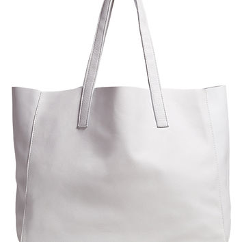 CLOVER LEATHER TOTE-white-one