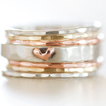 Stacking Rings / Heart Ring / Gold Stack / Stacking Rings Silver / Stacking Rings Silver / Ring Set / Gold Stacking / Summer 2016