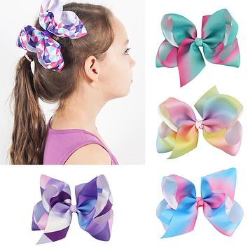 2Pcs/lot 6'' Girl Grosgrain Ribbon Hair Bows With Alligator Clips Cartoon Boutique Rainbows Hairbow Hairclip bows
