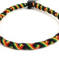 Rasta Reggae Friendship Hobo Braid Round Bracelet