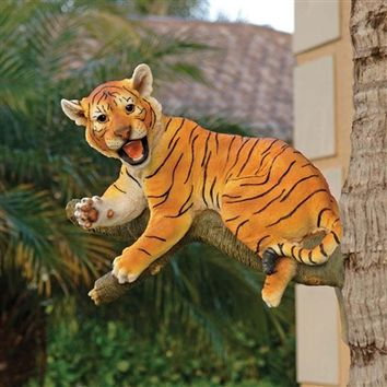 SheilaShrubs.com: Up a Tree Lounging Tiger Cub Statue KY69866 by Design Toscano: Garden Sculptures & Statues