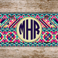 Navajo license plate monogrammed car tag - Aztec car tag with pinks and aqua blue - personalized car tag front license plate monogram (1261)
