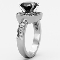 Princess Cut Round Elevated 3ct. Black CZ Halo Setting High Quality 316L Stainless Steel Engagement Ring Women's Jewelry Rings