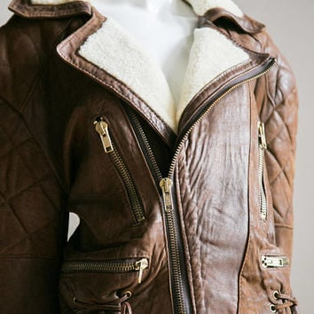 Aviator Jacket | Moto| Shearling | Zipper Detail| Motorcycle | Fur | Leather | 80s  Aviator | 80s  clothing | Vintage  leather jacket |