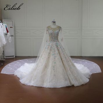 Eslieb Robe De Mariee Illusion Wedding Dresses Appliques Pearls A Line Bridal Gown Royal Train Plus Size Wedding Dress 2018