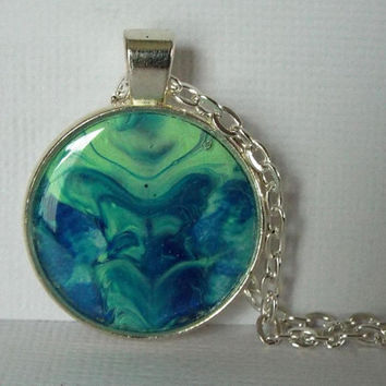 "Necklace, Round Pendant, Jewelry, ""Geyser"", Blue, Green, Hand Painted, OOAK, Gift Idea, Unisex, Wearable, Artwork, Painted, Gift, Christmas"