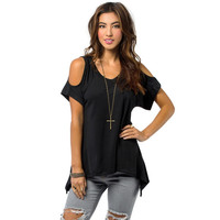 New Summer Women Off Shoulder Shirt Casual Loose T-shirts Soft Cotton Tops