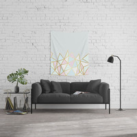 Gold & Pastel Geometric Pattern Wall Tapestry by tanyalegere