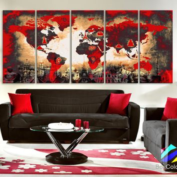 "Xlarge 30""x 70"" 5 Panels 30x14 Ea Art Canvas Print Original Wonders of the world Old Paper Map Red Yellow Wall decor Home interior (framed 1.5"" depth)"