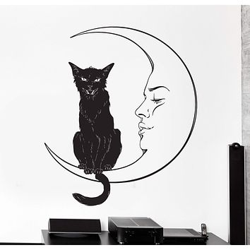 Vinyl Wall Decal Moon Night Black Cat Ethnic Home Interior Big Cozy Decor Unique Gift z4453
