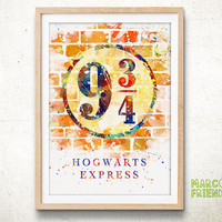 9 3/4 Platform, Harry Potter Hogwarts Express - Watercolor, Art Print, Home Wall decor, Watercolor Print, Harry Potter Poster