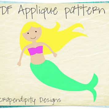 Mermaid Applique Template - Ocean Applique Pattern / Ocean Quilt Design / Girl Mermaid Shirt / Baby Nursery Blanket / Toddler Tshirt AP222-D