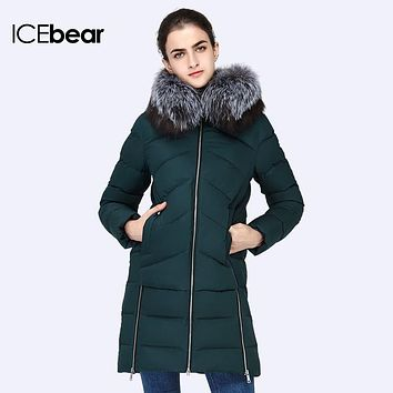 ICEbear 2016 New Women Winter Large Silver  Fox Fur Collar Hooded Woman  Parka Womens Coats Thick Jacket Four Colors 16G6105D